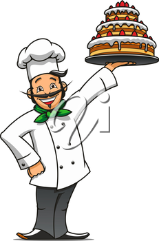 Cartoon french chef presenting the tray with tiered chocolate cake topped with buttercream and fresh berries. Pastry and confectionery shop or restaurant menu themes