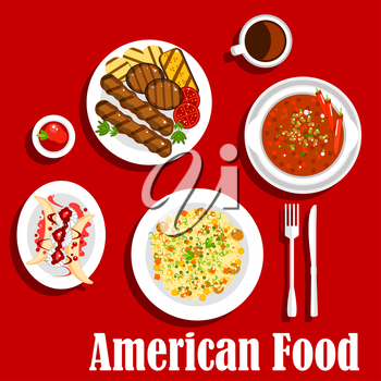 American dinner icon with jambalaya with rice and meat balls, vegetarian chilli, grilled beef steaks with sliced vegetables and ketchup, coffee served with banana split dessert, topped with whipped cr