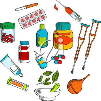 Alternative herbal and conventional medicine drugs with colorful symbols of medicine bottles, pills, drops, syringe, capsules, marble mortar and pestle with green herbs, crutches, pipette, enema and o