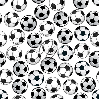 Sporting themed pattern of football game with bright cartoon seamless soccer balls over white background. Use as championship backdrop or sport club concept design