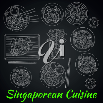 Singaporean dinner chalk sketch on blackboard with chicken rice and chilli crab, flat bread with tartar sauce, grilled beef satay and fried rice with chicken liver, spicy noodle soup and vegetable sal