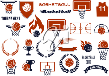 Basketball balls, courts, baskets on backboards, winner trophies and jersey icons for sport club or team design supplemented by heraldic shield, wreaths and ribbon banners, flames and stars