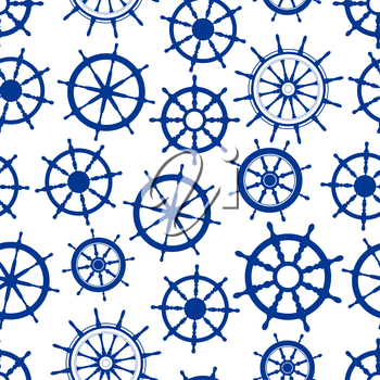 Retro marine helms background for nautical theme or scrapbook page backdrop design with blue seamless pattern of boats wheels with decorative wooden spokes and handles
