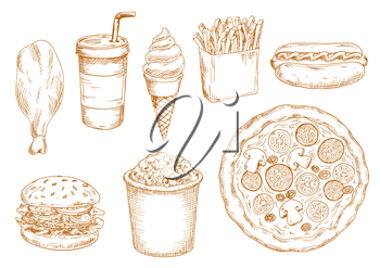 Fresh cooked hamburger and hot dog, pepperoni pizza with vegetables and chicken leg, french fries and popcorn, sweet soda drink and soft serve ice cream cone sketches. Retro stylized fast food menu de