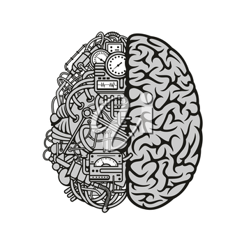 Human machine brain symbol with detailed illustration of combined human brain with automatic computing engine equipments. Great for computer technology and artificial intellect theme or education conc