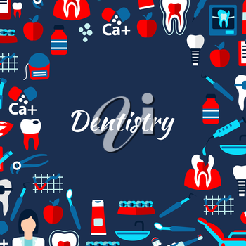 Dentistry banner design template with dentist, healthy and decayed teeth, braces and implants, dentist chairs and tools, medicines and vitamins, toothbrushes, toothpastes and flosses flat icons arrang