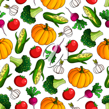 Vegetarian healthy food pattern with cartoon seamless background of ripe autumnal red tomatoes and radishes, sweet corn cobs and pumpkins, broccoli and garlic vegetables. Organic farming design usage