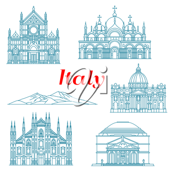 Antique religious architecture and famous nature landmarks of Italy icons for travel landmarks design or italian vacation concept. Linear symbols of Mount Vesuvius and Pantheon, Milan Cathedral, Cathe