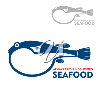 Exotic toxic pufferfish or japanese delicacy fugu blue icon. Oriental cuisine theme or japanese seafood restaurant design