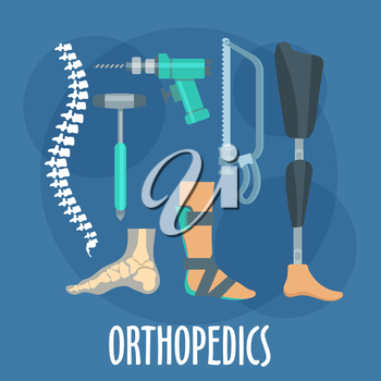 Orthopedics and prosthetics medicine symbol for orthopaedic clinic design usage with bones of vertebral column and foot, prosthetic leg and ankle foot orthosis, charriere bone saw, bone drill and medi