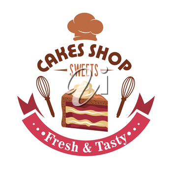 Cake shop retro symbol design with slice of layered strawberry cake with chocolate frosting garnished by buttercream swirls, framed by whisks on both sides, chef hat on the top and magenta ribbon bann