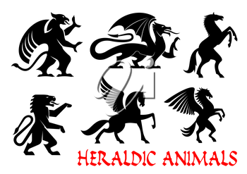 Heraldic animals icons. Griffin, Dragon, Lion, Pegasus, Horse outline silhouettes for tattoo, heraldry or tribal shield emblems. Fantastic mythical creatures. Vector graphic elements