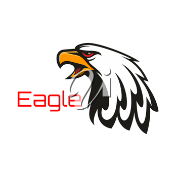 Eagle harsh crying. Vector emblem of hawk with open beak. Heraldic label for team mascot shield, icon, badge, tattoo. Falcon symbol for scout, sport, guard, club identity icon