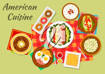 American cuisine typical dinner sign with hot dog, french fries, eggs with bacon and toast, vegetable cobb salad, glazed donut, bacon chowder soup, cucumber salad and baked beans with bacon