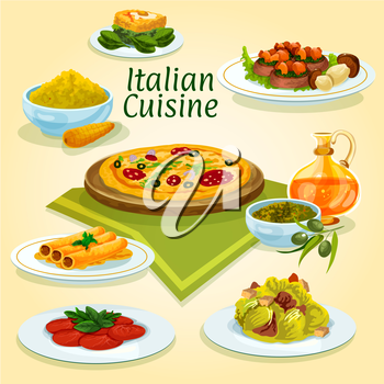 Italian cuisine pizza carbonara icon with caesar salad, beef carpaccio, fish stuffed cannelloni pasta, spinach omelette, polenta with parmesan, basil pesto sauce with olive oil, beef with boletus