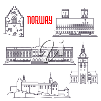 Popular travel sights of Norway icon with thin line Royal Palace, fortified medieval Akershus Castle and Fortress, Haakons Hall of Bergenhus fortress, Oslo Cathedral and Oslo City Hall