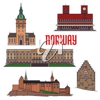 Historic sightseeings and buildings of Norway. Vector detailed icons of Royal Palace, Akershus Fortress, Hakons Hall, Oslo Cathedral, Radhus. Norwegian showplace symbols for print, souvenirs, postcard