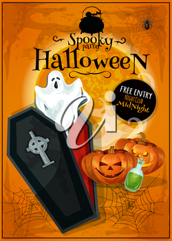 Vector Invitation placard to Spooky Halloween Party with cartoon cute and scary characters of ghost in open coffin, pumpkin lantern on orange spider web background. Template design for greeting card,