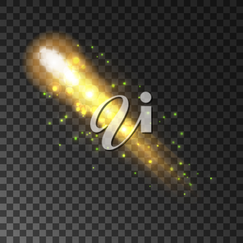 Golden glittering comet with sparkling light trail. Shining sparks and particles of shooting star on transparent background