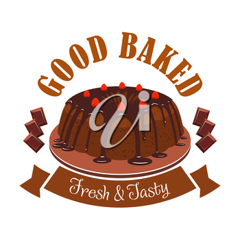Fresh tasty dessert emblem. Vector icon of sweet chocolate cake on plate, chocolate topping, strawberries, brown ribbon. Template for cafe menu card, cafeteria signboard, patisserie poster, bakery lab