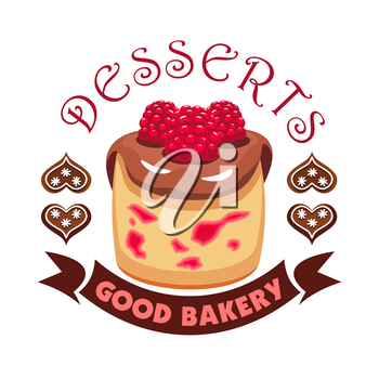 Dessert cake with berries. Bakery shop emblem. Vector icon of sweet cupcake with chocolate topping and raspberries. Template for cafe menu card, cafeteria signboard, patisserie poster, bakery label
