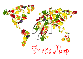 Fruits world map design elements. Vector map with continents of exotic and tropical fruits pattern. Template for healthy diet decoration or infographics symbols
