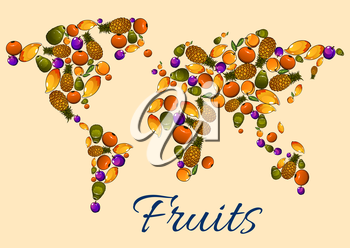 Fruits icons in world map. Vector map with continents shaped by garden, farm exotic and tropical fruit elements. Vegetarian and healthy life decoration design