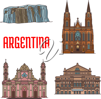 Tourist attraction landmarks and sightseeings of Argentina. Vector detailed icons of architecture facades of Cathedral of La Plata, Teatro Colon, Cathedral of Salta, Iguazu Falls