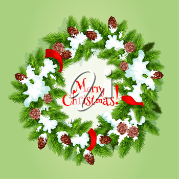 Christmas tree wreath greeting card. Green branches of pine and fir tree, arranged into round frame, adorned by red ribbon, cone and snow with text Merry Christmas in the center. Xmas poster design