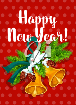 Happy New Year poster. Golden jingle bells ornament with fir branches, ribbon bow, pine cones snow. Vector greeting card on red background