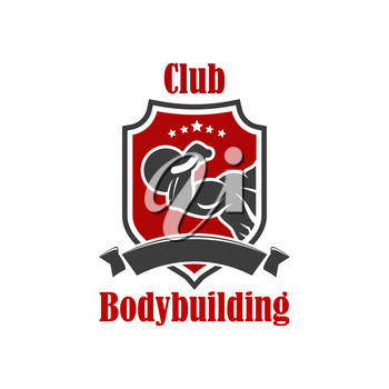Bodybuilding vector icon. Gym, sport club vector sign. Crossfit gym, fitness club isolated badge of muscleman, weightlifter muscle arm with dumbbell, athlete hand biceps with iron barbell, ribbon, sta