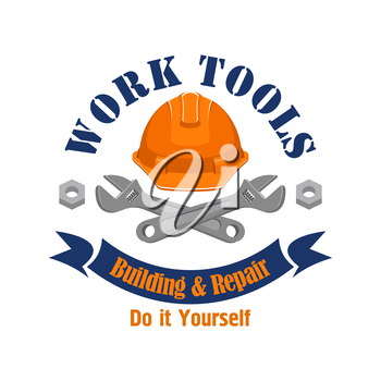 Repair and building vector sign, icon. Construction work tools spanners, worker safety helmet hat, bolts, nuts, ribbon