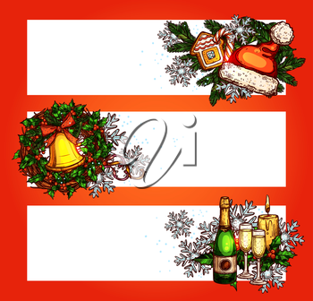 Christmas festive banner set with copy space. Holly berry wreath with bell, pine tree with candy cane, snowflake, candle, gingerbread, santa hat, bottle of champagne. Sketched New Year poster design