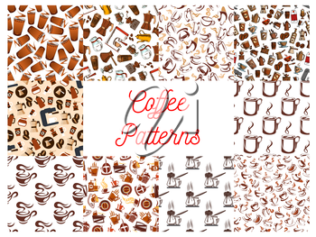 Coffee cups and coffee makers seamless patterns. Background wallpapers with vector icons of vintage coffee mill, turkish cezve, espresso machine, retro coffee grinder, moka pot, macchinetta, milk pack