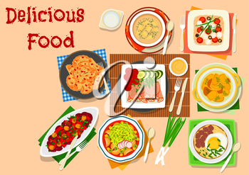 Lunch menu icon with potato soup, olive bean salad, tomato cheese pasta, baked potato with soy sauce, spaghetti soup with egg, corn pork soup, potato dumpling, ham roll with pickles