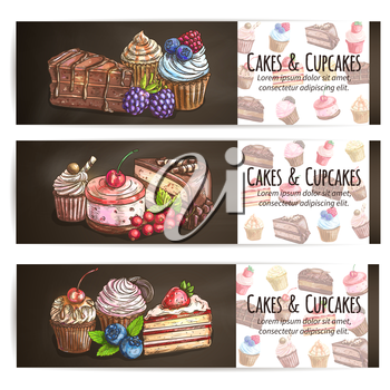 Cupcakes, cakes pastries desserts poster. Confectionery bakery sweets placard. Vector banner for patisserie, cafe leaflet, pastry shop signboard, menu