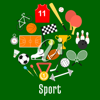 Sport symbols and sporting items in a shape of circle with balls for soccer, football, volleyball, basketball, tennis, baseball, bowling, hockey puck, bicycle, trophy, darts, rackets, racing flag
