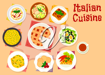 Italian cuisine pasta salad icon served with bean, olive and egg, eggplant lasagna, spaghetti with chicken, potato dumpling, vegetable omelette, polenta, cream cheese pie, almond cookie