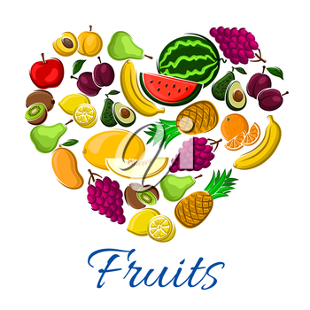 Fruits heart exotic fresh mango, grape, melon and watermelon, tropical pineapple and kiwi, pear and apple with apricot, lemon citrus and banana, avocado and orange or tangerine. Vector poster