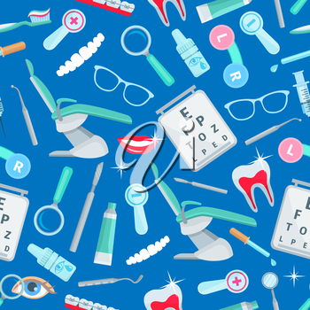 Dentistry, stomatology seamless pattern of vector dental health and care items and dentist tools orthodontic braces and tooth implant, mouth mirror, syringe and magnifying glass, stomatologist chair,