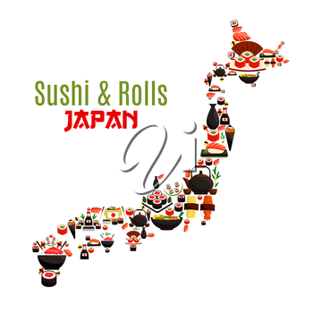 Sushi, sashimi and seafood rolls in Japan map. Japanese cuisine symbol of steamed rice with shrimps and noodles wok, oriental miso soup with fish and nori seaweed, sushi rolls and salmon sashimi with