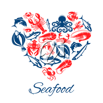 Seafood heart poster of vector fish and mollusks lobster or crab crayfish, shrimp or prawn and flounder, tuna and salmon or trout, squid, herring sprat and octopus