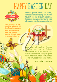 Easter Egg Hunt poster template. Decorated easter eggs with spring flowers in wicker basket with cross, candle and willow tree twigs, floral Easter wreath with ribbon banner and flying butterflies
