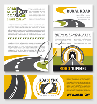 Banner and flyer template with road. Winding highway, rural road, freeway tunnel and asphalt way poster for road safety service company, transportation and travel business design