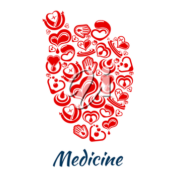 Medicine poster with heart symbol of vector cardiology medications and blood donation concept. Donor health design with cardio healthcare items of heart pulse and human helping hand