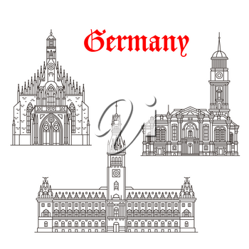 Germany architecture and German famous landmark buildings. Vector isolated icons and facades of Hamburg Town Hall or Rathaus, Frauenkirche or Our Lady and St Michaelis or Michael Church