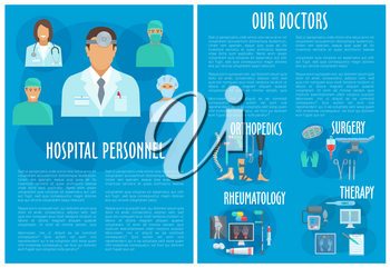 Hospital personnel poster or clinic doctors brochure. Medical departments of therapy, orthopedics rheumatology and surgery healthcare treatment and medicines. Vector pills, spine joint x-ray and syrin