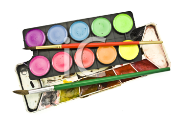 Watercolor paints set with brush