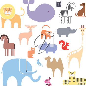 Cute Animal illustration Icon Set isolated on a white background
