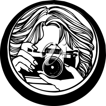 Royalty Free Clipart Image of a Woman Taking a Picture